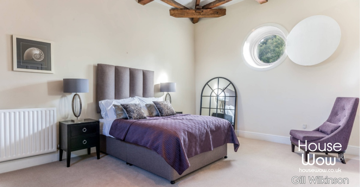 Show Home Bedroom plum colour theme Image