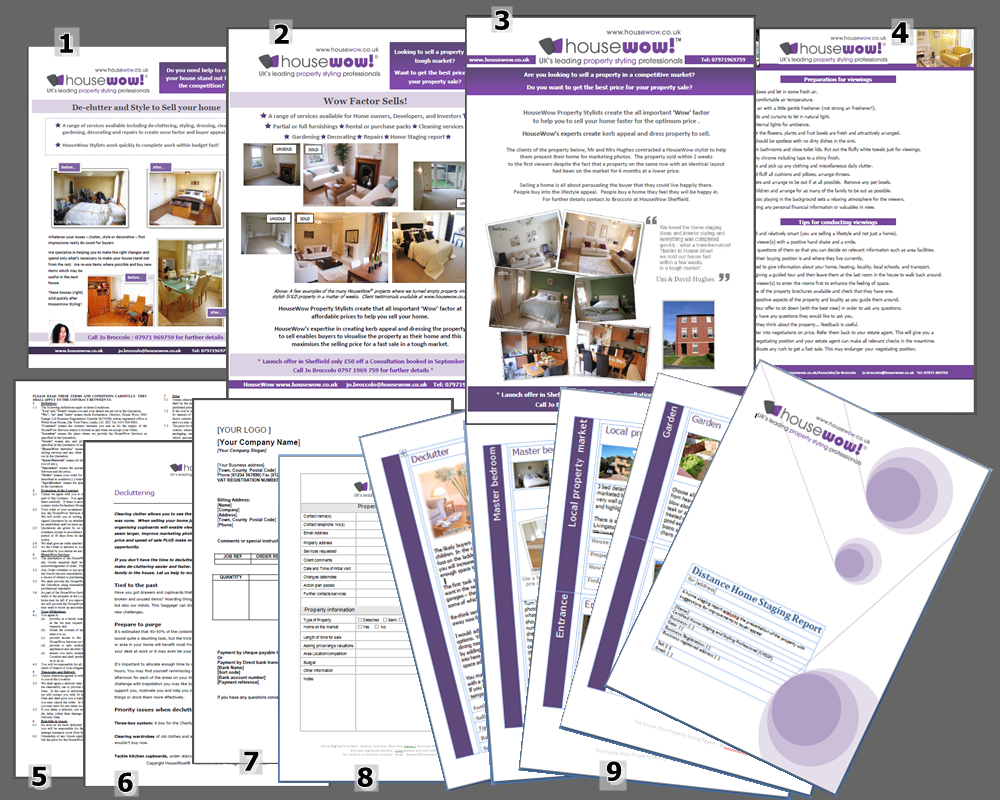 home staging and interior design templates housewow associate 6 handout 6 pages decluttering provided to clients after a consultation or for use agents 7 invoice 8 property survey 4 page template