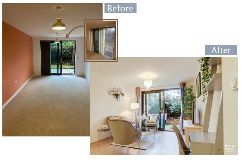 Staging Example of before and after a lounge styled and photographed to sell