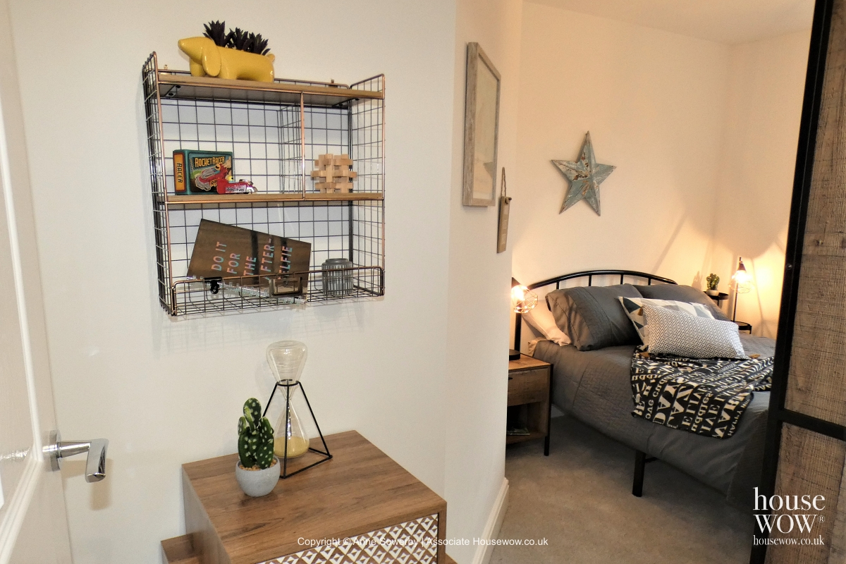 bedroom Staging in industrial theme