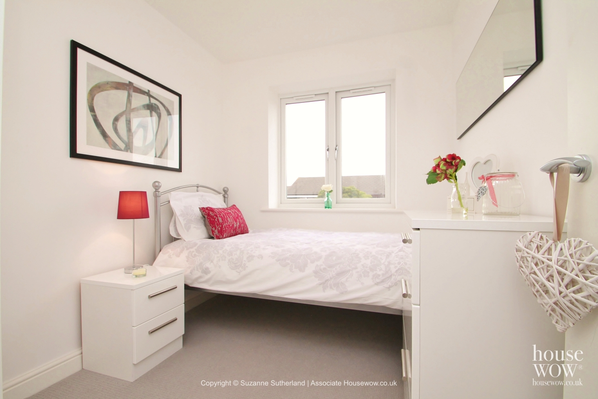 Small bedroom show home dressing in Merseyside