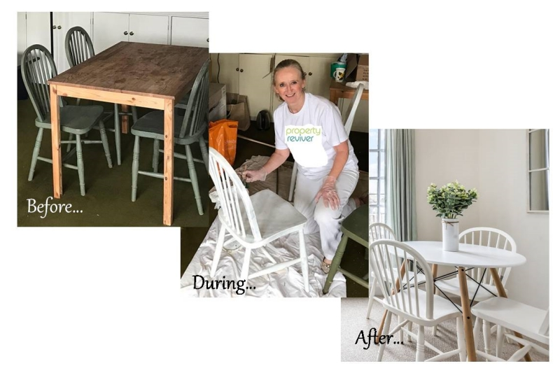 Designer being show painting furniture to upcycle and reuse the chairs