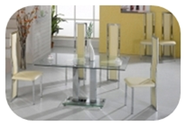 1. Chrome and cream PU dining chairs and table