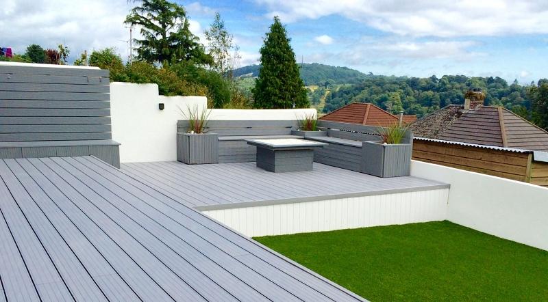 Composite decking in a garden