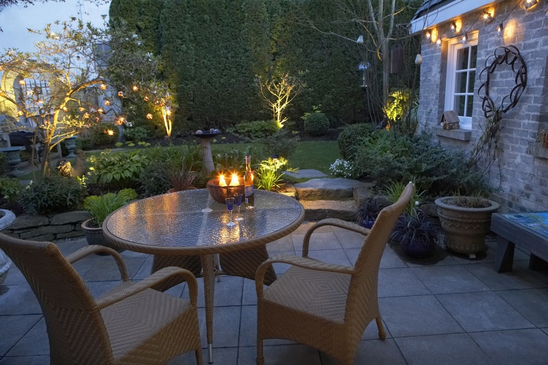 Garden lighting in a cosy setting with low cost options